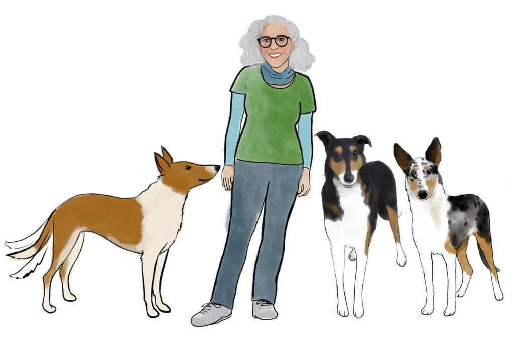 Zeichnung Ulla Viering und die Collies